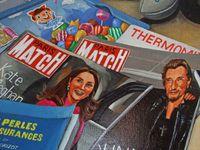 Nature morte, vie de Thierry et Delphine. Détails : Johnny Hallyday, Kate Middelson, le jeu Candy Crush. Huile sur toile 80x100 Bhavsar