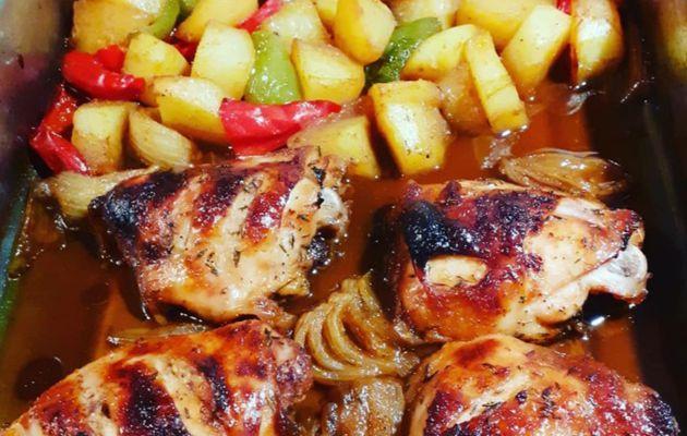 Poulet et légumes marinés sauce soja .miel