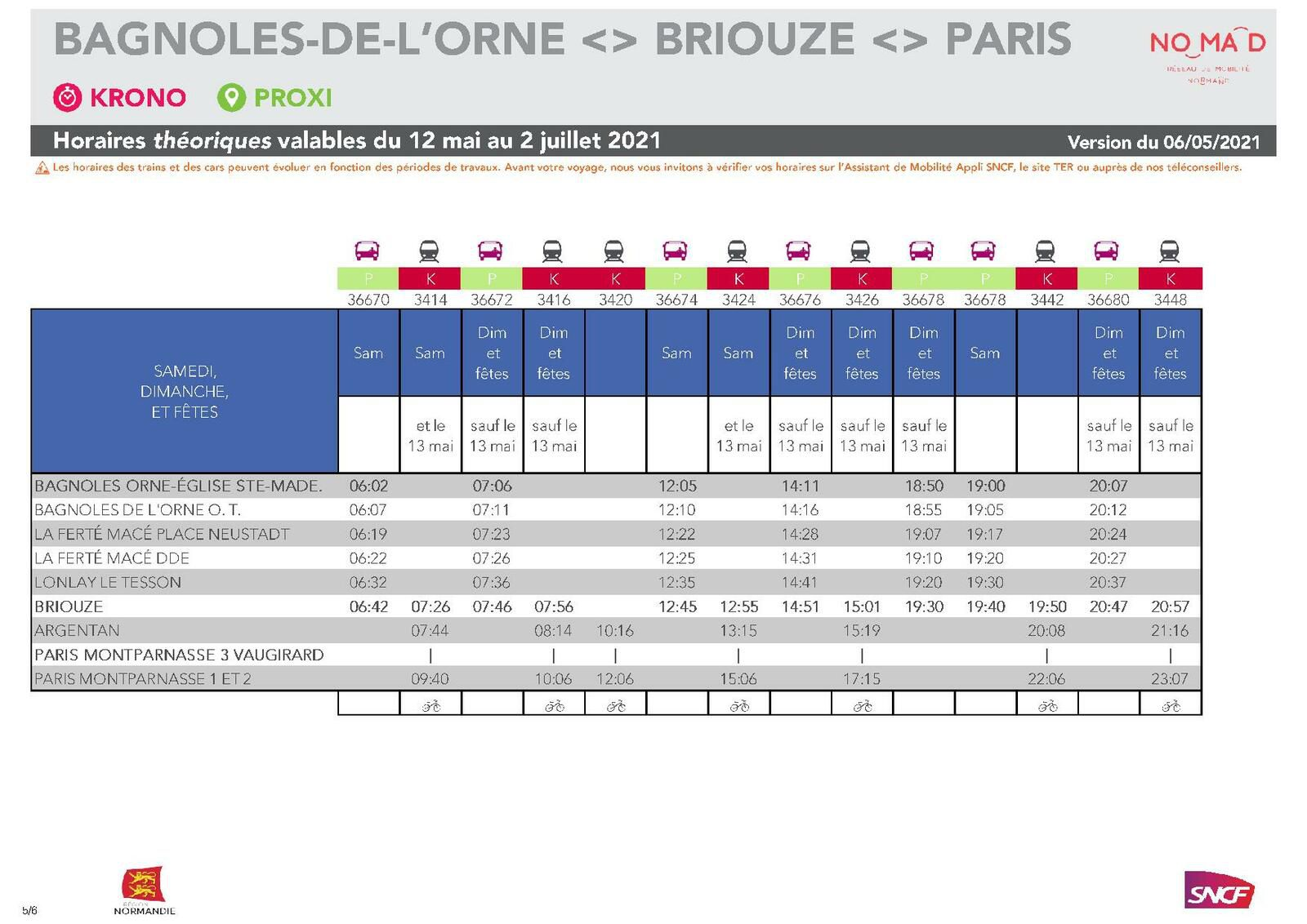 Paris Montparnasse > Bagnoles de l'Orne - Version du 6.05.2021