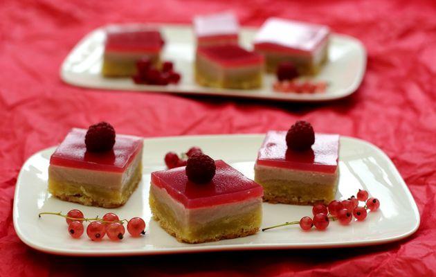 Gâteau crousti-fondant aux groseilles et framboises