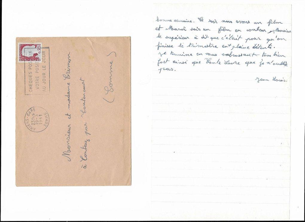 Amiens. Lettre du 19 Mars 1961. © Jean-Louis Crimon