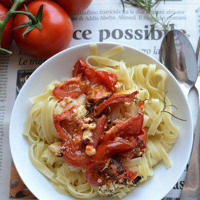Tagliatelle tomates féta au four #végétarien