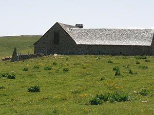 Le buron du Mailhebiau (réfection de la toiture), le refuge des Rajas et le buron de la Rosière haute.