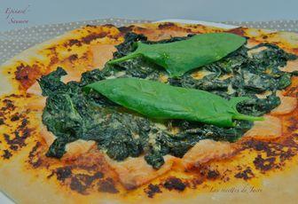 Pizza épinard et saumon
