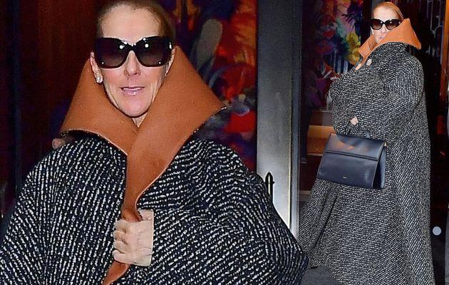 Céline Dion montre son style original et original en enfilant un manteau surdimensionné avec un énorme col en cuir à New York