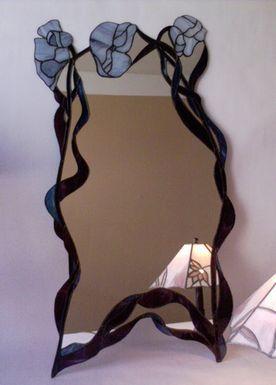 Vitrail - Miroir trois fleurs