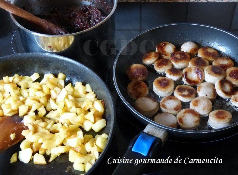 Feuilletés au boudin blanc truffé aux pommes et confit d'oignon au balsamique