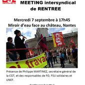 Mercredi 7 septembre 2016 - 17h45 - Meeting INTERSYNDICAL de rentrée à NANTES avec Ph.Martinez, J.C.Mailly, Bernadette Groison, Eric Beynel et William Martinet - Commun COMMUNE [El Diablo]