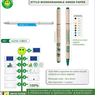 Stylo publicitaire GREEN PAPER PEN biodégradable