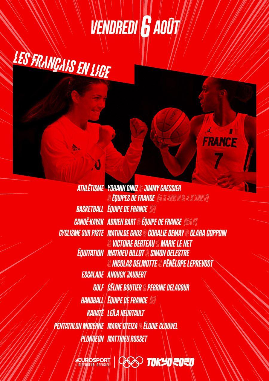 Jeux Olympiques de Tokyo 2020 - Le programme du vendredi 6 août sur Eurosport (temps forts, français à suivre, canaux de diffusion...)