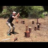 Wood Splitting Accident: Wood Flies Directly At Hand.