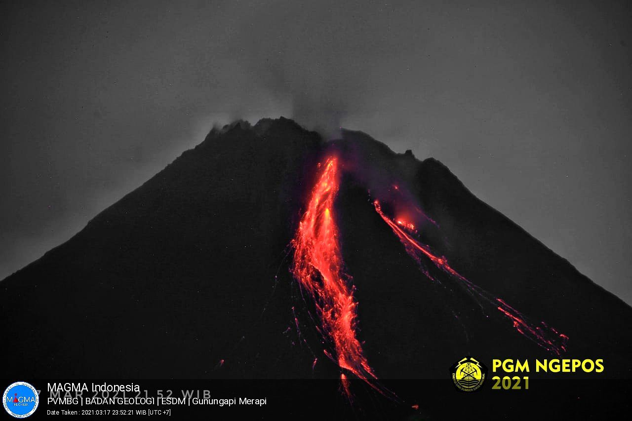 Merapi - 17.03.2021 / 23h52 - photo PGN Ngepos / PVMBG