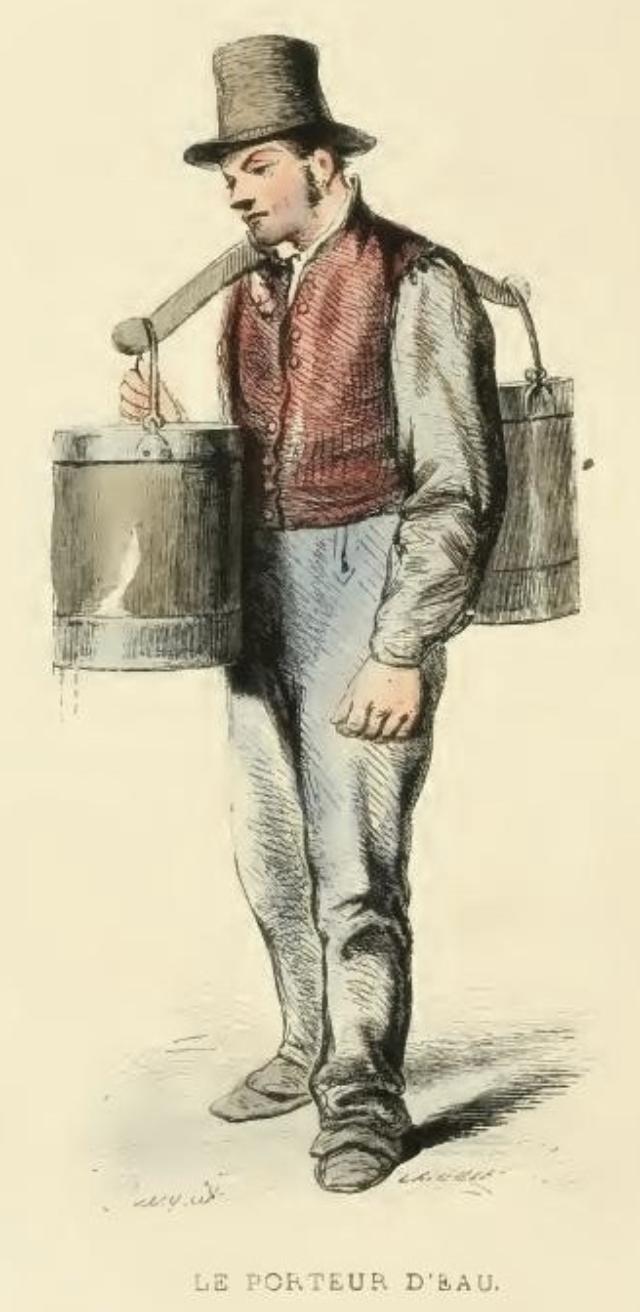 Porteur d'eau parisien, dessin Hippolyte Pauquet, vers 1850, source BNF