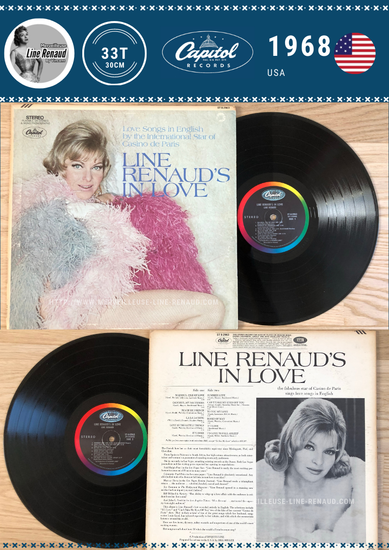 33 TOURS: 1968 Capitol - Première édition  - ST 8-2963 - Line Renaud's In Love (USA)