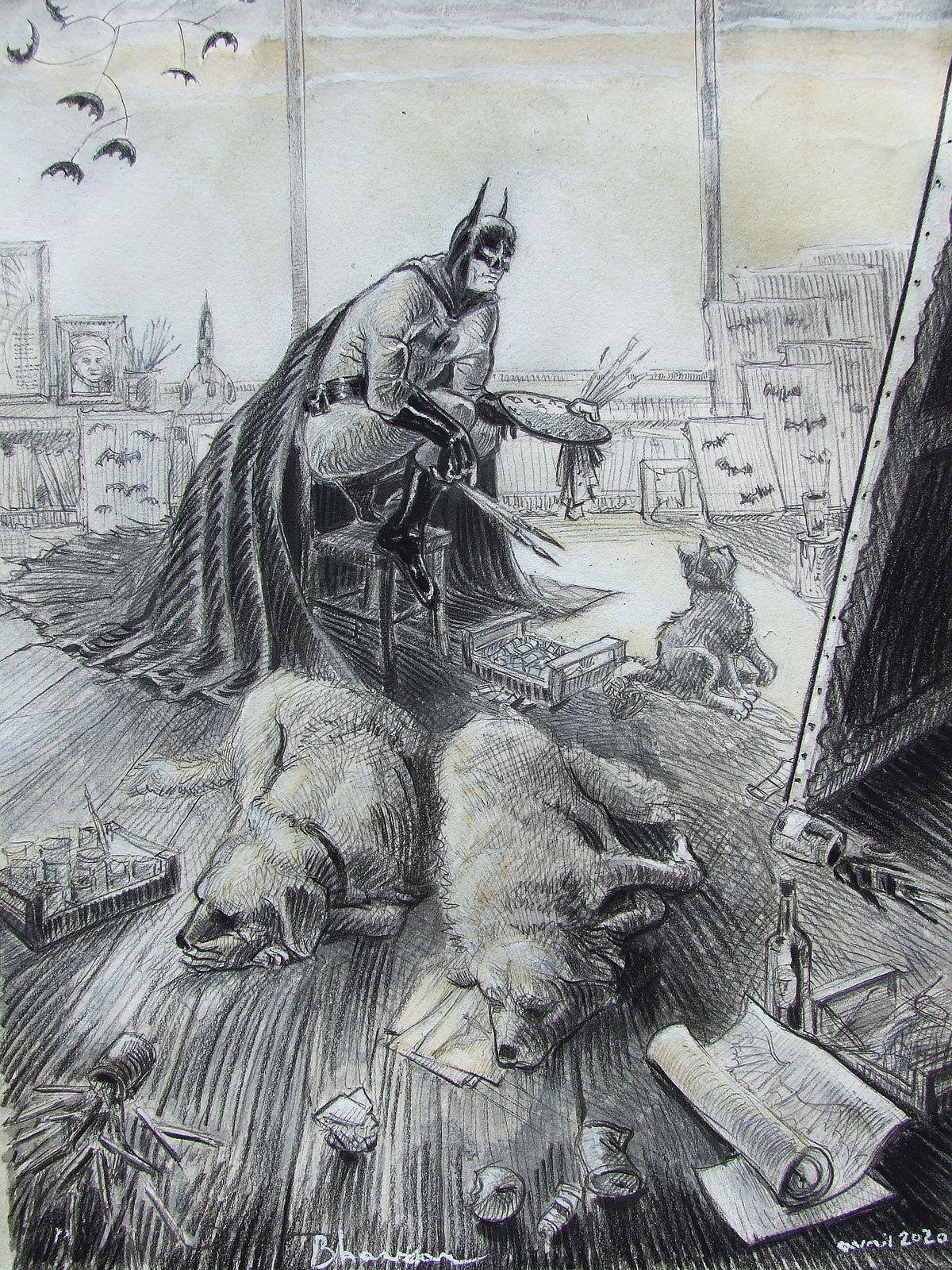 Portrait du peintre en cap'tain nature morte, en Batman, en Captain America, à la femme nue. Technique mixte sur papier... (L'atelier du peintre 1, 2, 3 et 4, voir plus bas) Bhavsar