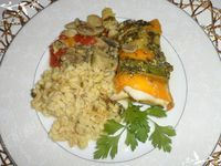 Paupiettes de Merlan aux petits légumes accompagnées d'Ebly sauce curry