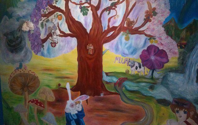 Peinture sur mur chambre de mes enfants