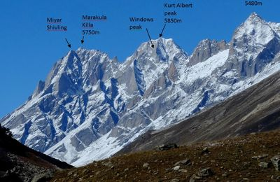 Miyar climbing history - Lahaul - India - Map and castle peak routes