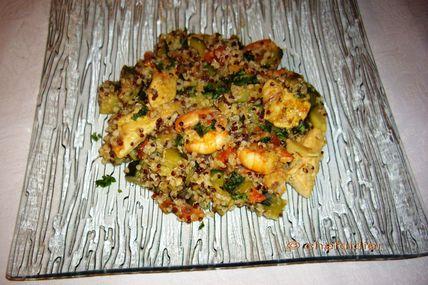 Quinoa, Crevettes sautées et Poulet