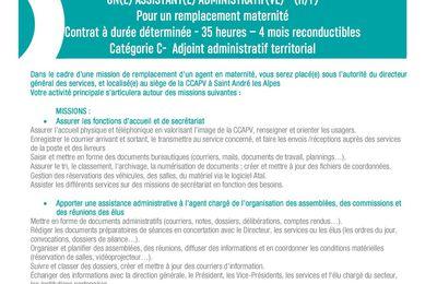 Offre emploi CCAPV CDD 4 mois  un(e) assistant(e) administratif(ve) candidature 3 février