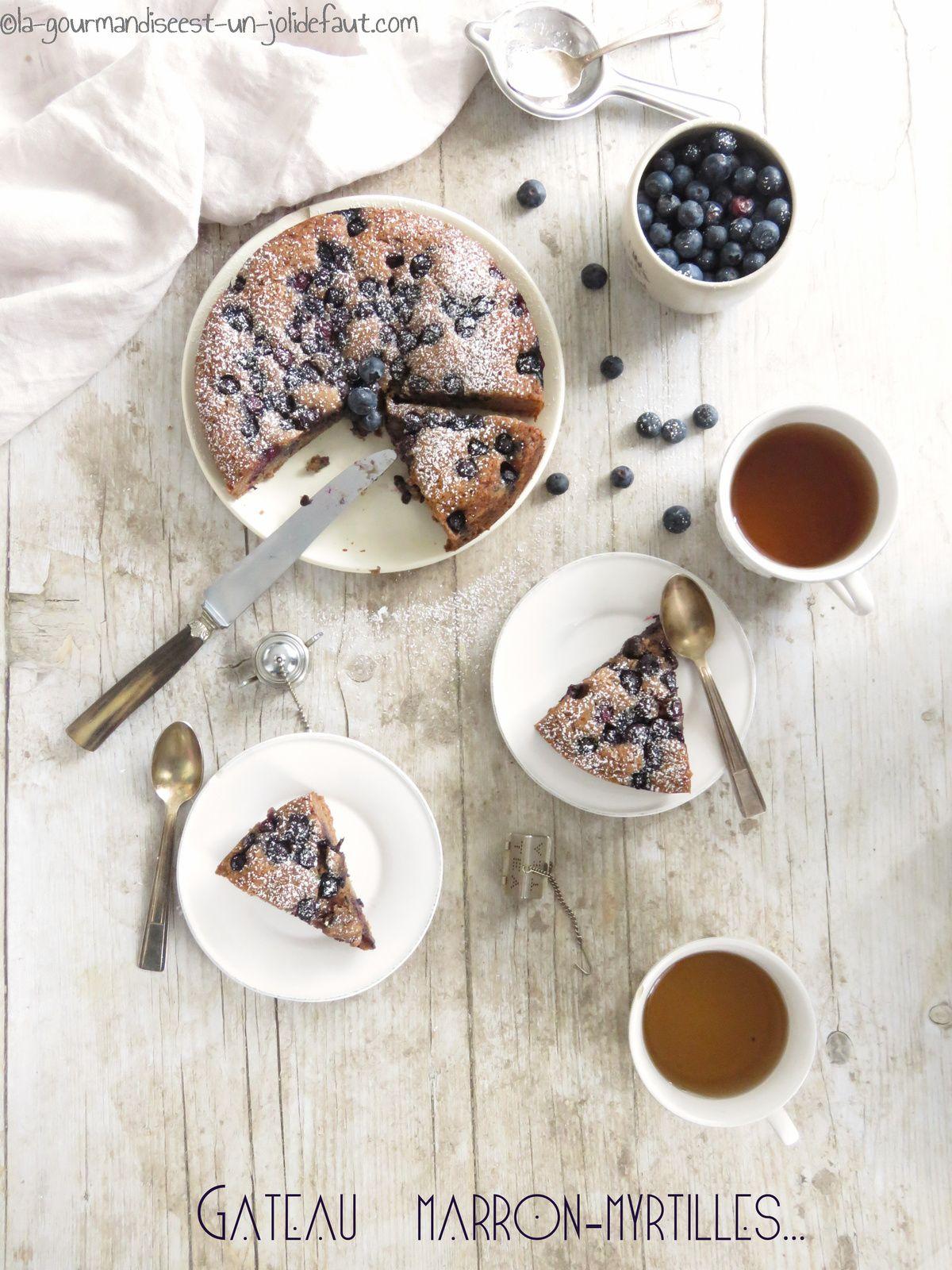 Gâteau à la crème de marrons et aux myrtilles