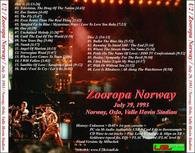 U2 -ZOO TV Tour -29/07/1993 -Oslo -Norvège -Valle Hovin Stadion