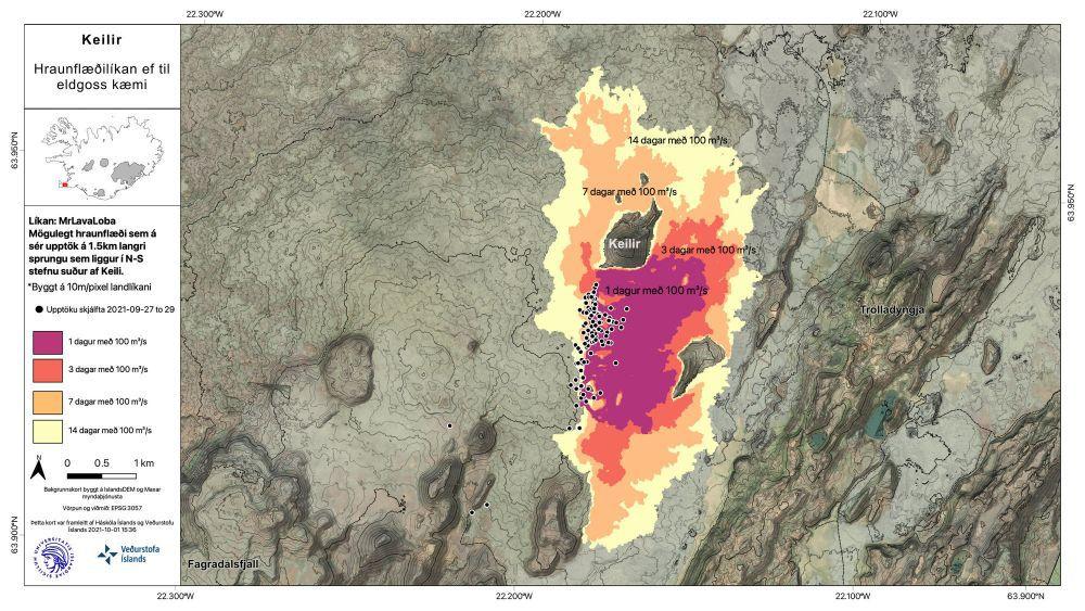 Zone de Keilir  - localisation des séismes et carte prévisionnelle d'une possible extension des coulées de lave en cas d'éruption à Keilir - Doc. IMO / RUV 01.10.2021 - un clic pour agrandir