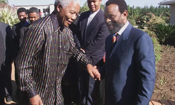 King Goodwill Zwelithini, right, welcoming the outgoing president, Nelson Mandela, to KwaZulu-Natal, 1999. Photograph: Yoav Lemmer/AFP/Getty Images