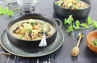 Crème de Chou-Fleur et Saumon laqué
