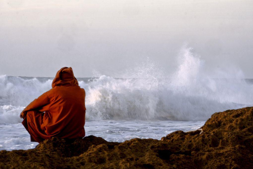Un vieux bédouin sympathique s'est offert un soir aux paysages sous le regard des vagues déchaînées...un merveilleux moment de spiritualité que ce Vieil homme plein de sagesse inspiré par la Nature et venant se ressourcer dans le silence étourdissant des vagues contrastant avec son calme et une sérénité convaincue et communicative.