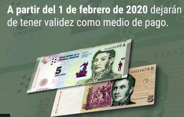 Billets et pièces circulant en Argentine