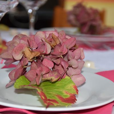 """ma table """" hortensias et chats""""...."""