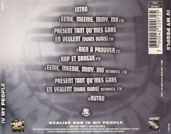 IV My people (Kool Shen, Zoxea, Serum, Lord Kossity et Salif) - cover back - le rap c'était mieux avant