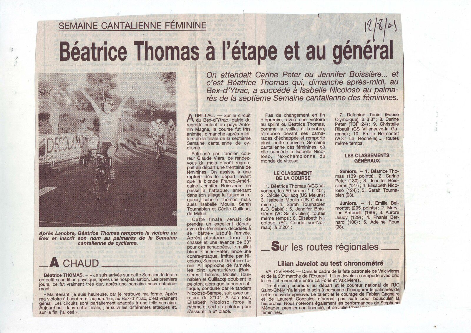 Il y a 20 ans ... Semaines cantaliennes 2001