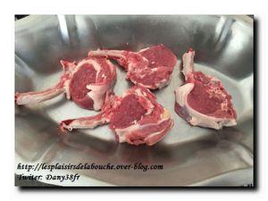 Chicon braisé côtelettes d'agneau poêlés et champignons tournés