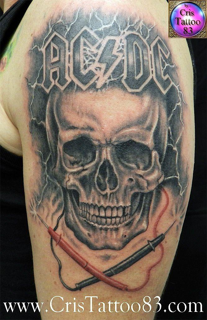 AC-DC Skull Tattoo
