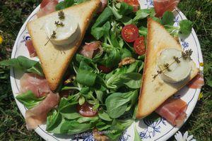 Salade toasts de chèvre chauds, jambon cru, tomates cerises et noix