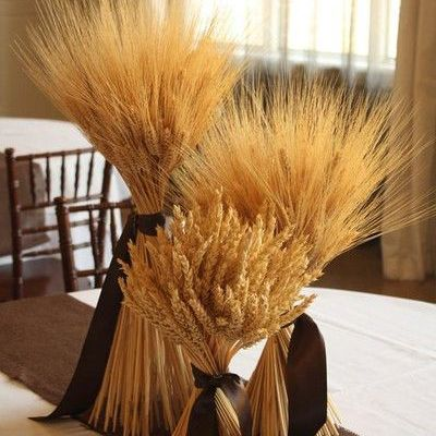 Rustic Wheat Center Pieces - These Beautiful and Cozy Details Will Make You Want a Thanksgiving Wedding - Photos