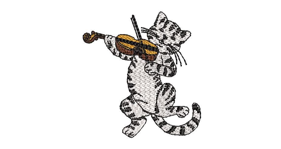 BRODERIE CHAT VIOLONISTE