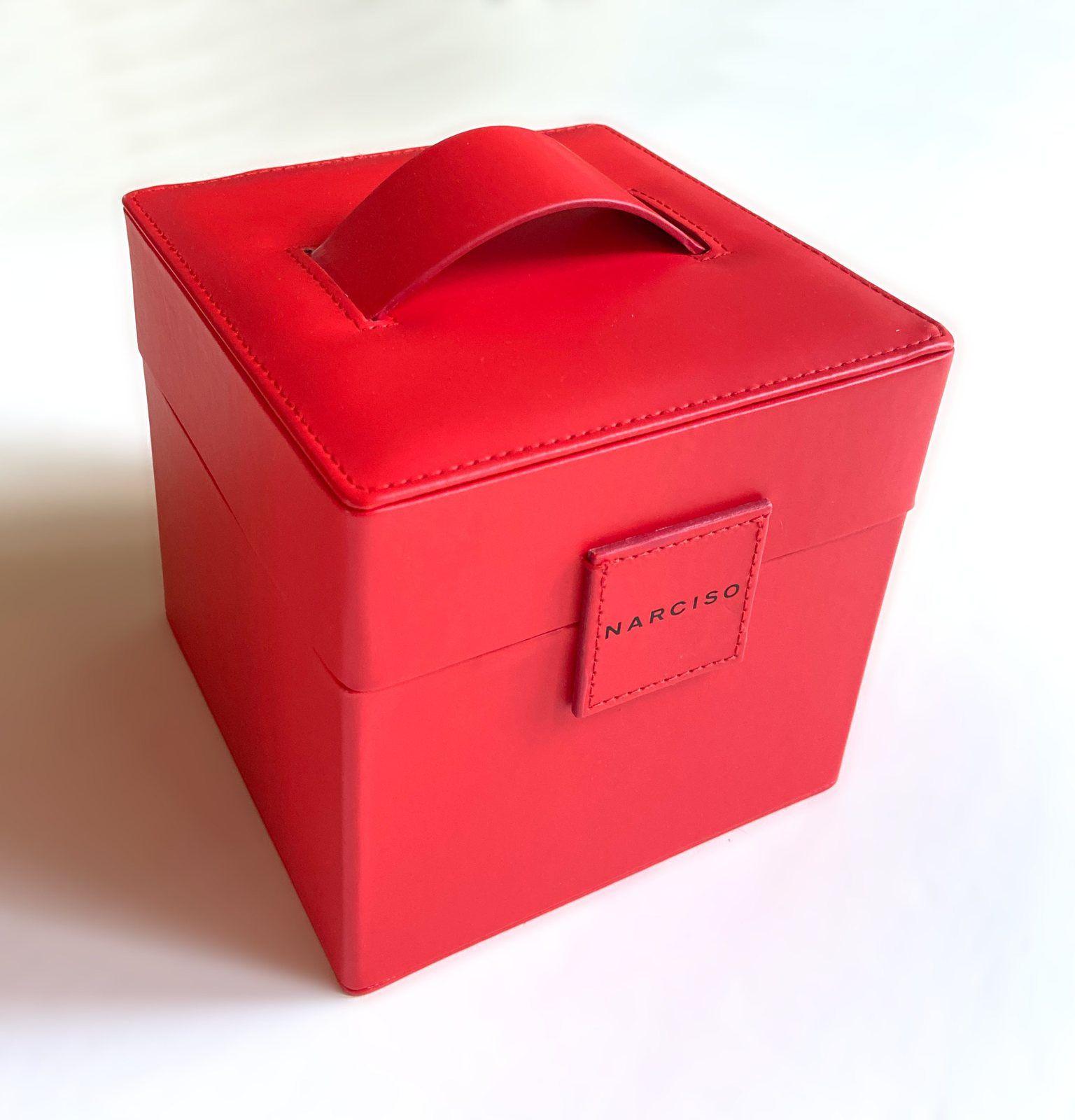 Coffret boite à bijoux vanity carré Narciso Rodriguez rouge coquelicot neuf