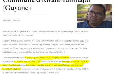 Déficit abyssal à Awala-Yalimapo : la CRC alerte après un nouveau contrôle budgétaire