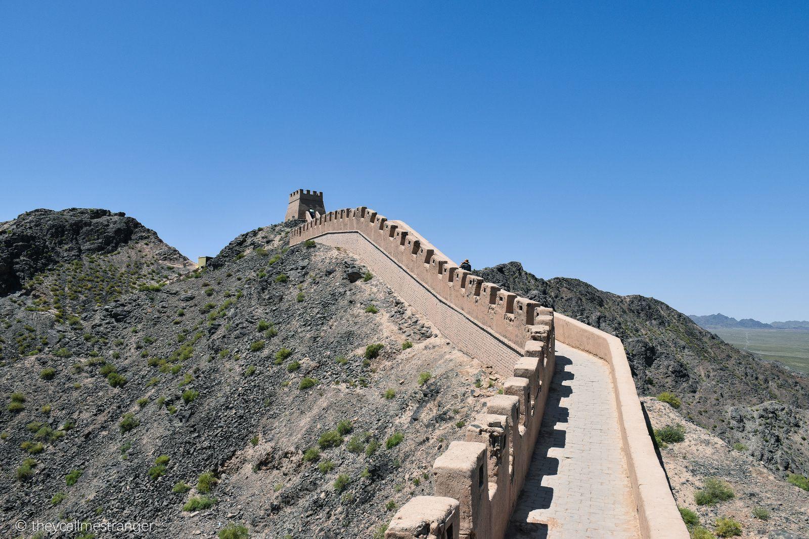 L'ouest de la grande muraille de Chine (Xuanbi Changcheng 悬壁长城, la muraille suspendue de Jiayuguan 嘉峪关)