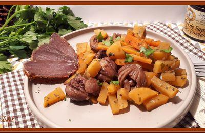 Poêlée de navets boule d'or, carotte et châtaignes
