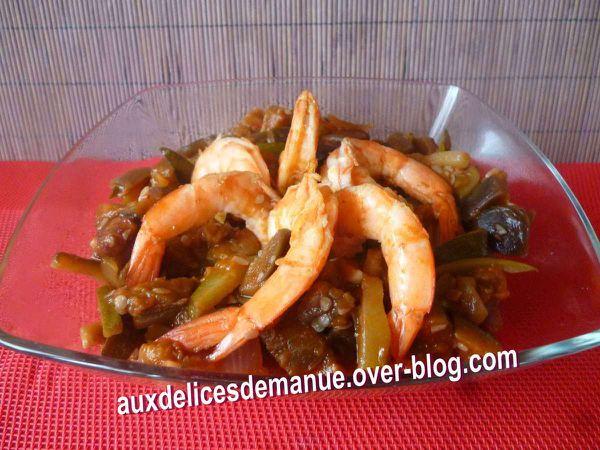 aubergine courgette et crevettes au piment - LIGHT -