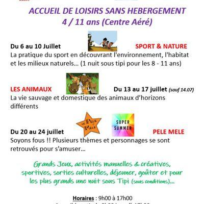 Dernières Places - INSCRIPTION Centre Aéré 4/10 ans