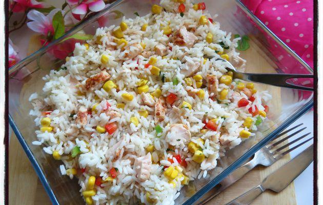 Salade de riz au poulet et aux poivrons