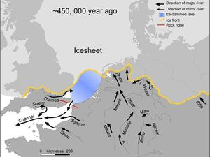 Glacial Lake Elsterian 450,000 years ago - left, Doc. Gupta et al. - Right, doc. Cohen, Gibbard and Busschers, 2005. - a click for enlarge