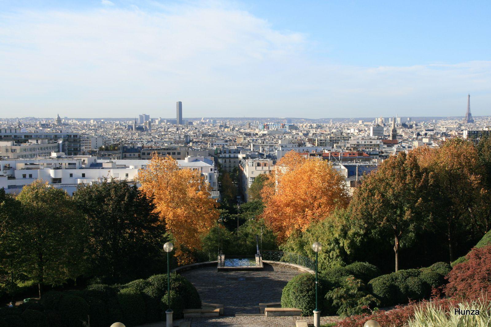 Paris, parc de Belleville (photo prise depuis la rue Piat)