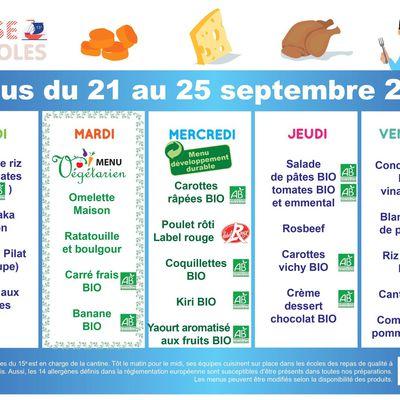 menus de la cantine du 21 au 25 septembre 2020