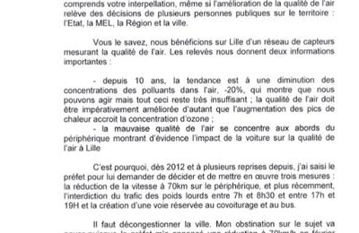 La réponse de Mme Martine Aubry ne satisfait pas ceux qui se battent pour la qualité de l'air dans la métropole lilloise